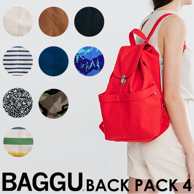 BAGGU BACKPACK4(リサイクルコットンキャンバスリュック)(シンプル 巾着 通学 通勤 バックパック バグゥ デイパック RUCK SACK ユニセックス)【送料無料 在庫有り】【あす楽】