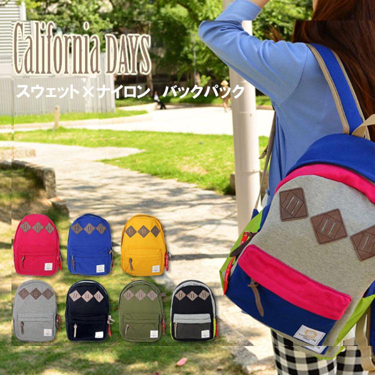 【50%OFFクーポン】カリフォルニアデイズ スウェット×ナイロン バックパック(California Days backpack Sweat Nylon リュックサック)【~2泊】【送料無料 在庫有り】【あす楽】