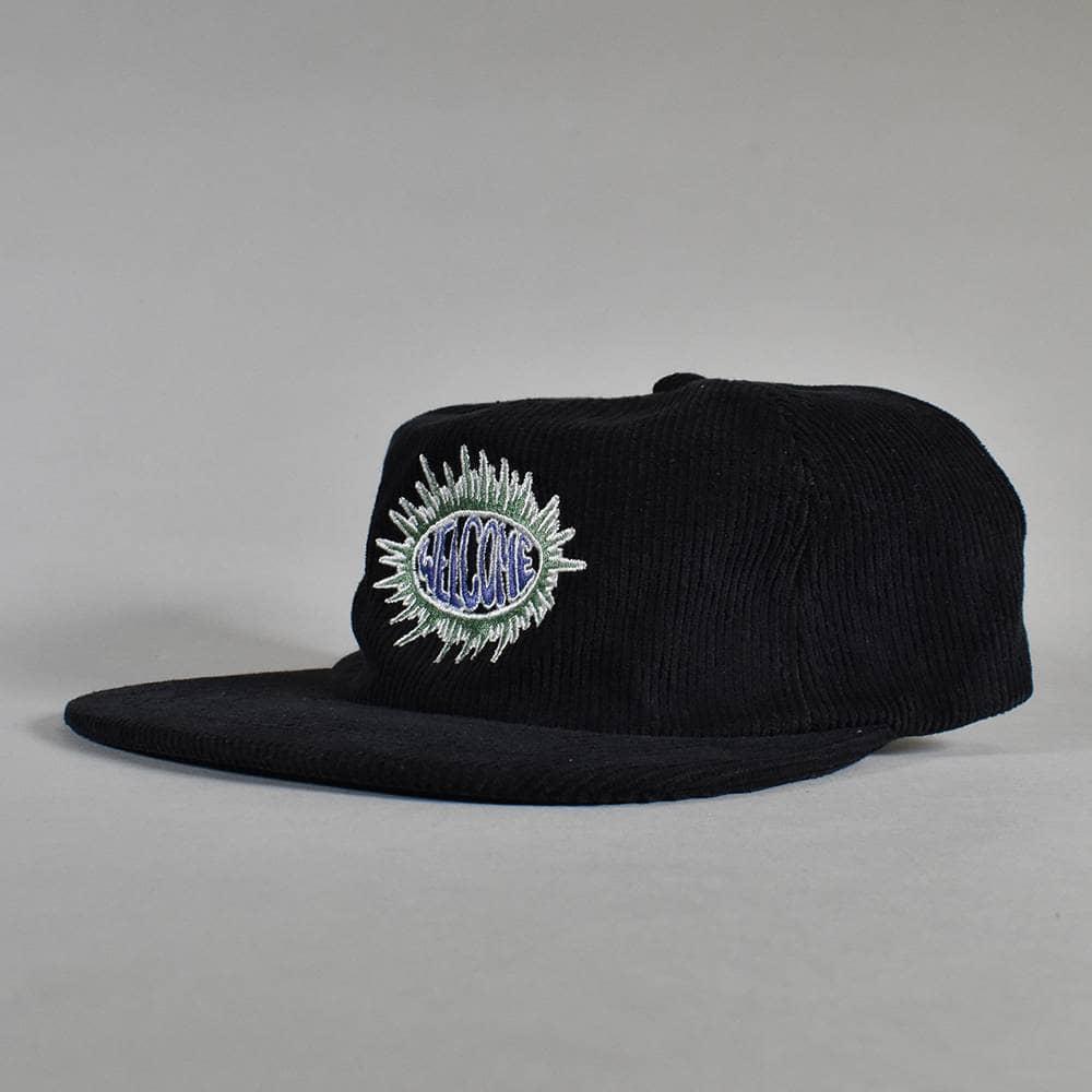 WELCOME SKATEBOARD BURST CORDUROY CAP 代引き不可 BLACK ウェルカム スナップバック ブラック 帽子 スケートボード アジャスター スケボー 激安 キャップ