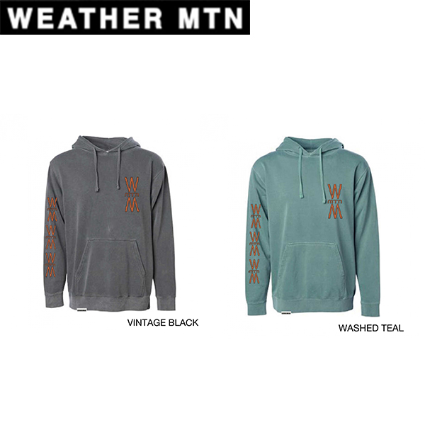 "【18-19】WEATHER MTN ウェザーマウンテン ""DECK"" - GARMENT DYED HOODED SWEATSHIRT BLACK TEAL 正規品"