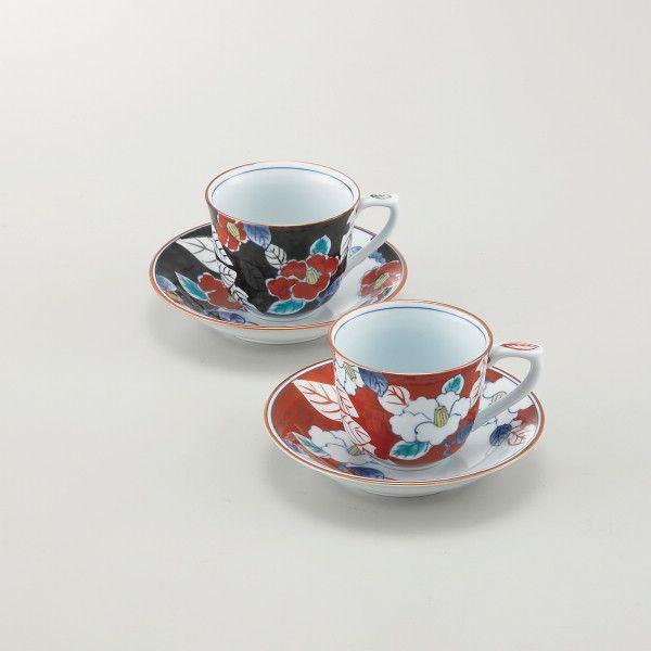 色彩山茶花 ペアコーヒー碗皿(TG08-03)(送料無料)