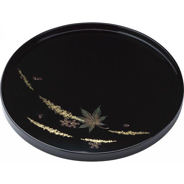輪島塗 金箔春秋 丸盆(黒)(送料無料)