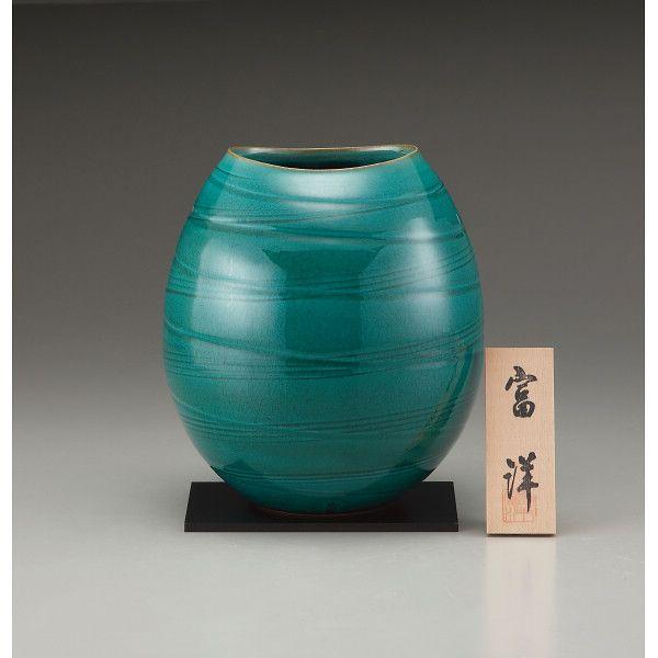 信楽焼 7号花瓶 緑光彩(sha‐23)(送料無料)