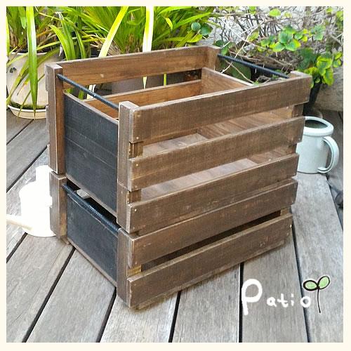 収納ツールBOX 2個セット 木製 スチール棒付