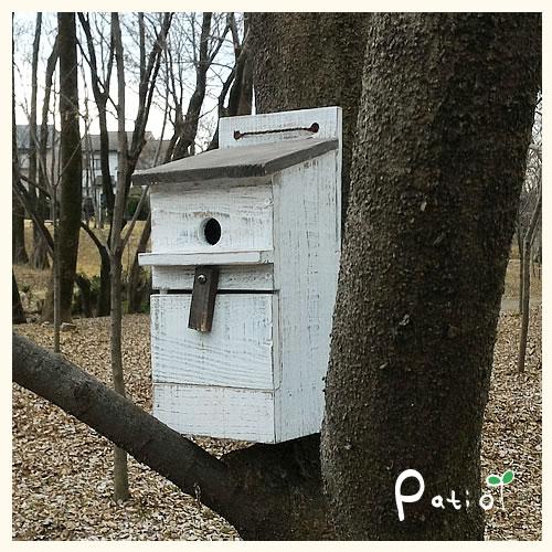 アンティークウッドのバードハウス 一枚屋根タイプ【鳥の巣箱】【エイジング】