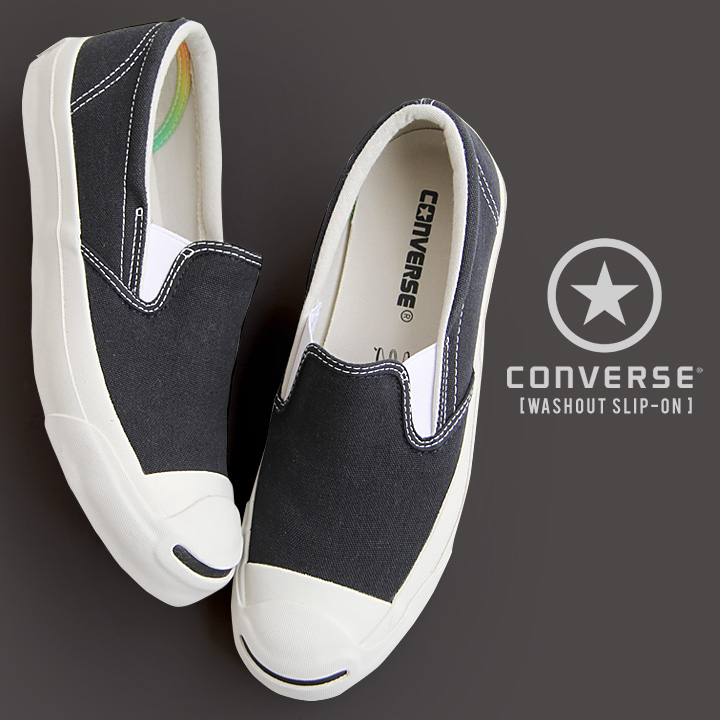 converse gray slip on bnkj  CONVERSE [converse, Jack Purcell washout slip-on canvas fabric cushion  insoles slip