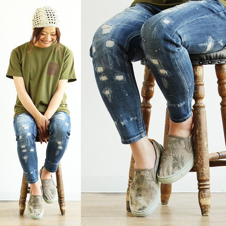 SATORISAN [satrisan] slip-on shoes linen pattern design curve insoles replacement with Saul (khaki Palm trees 24-25 cm sneakers)