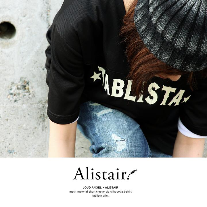 ANGEL×ALISTAIR LOUD [laud Engel × Alistair] short sleeve printed TABLISTA big silhouette t-shirts (large black-large size)