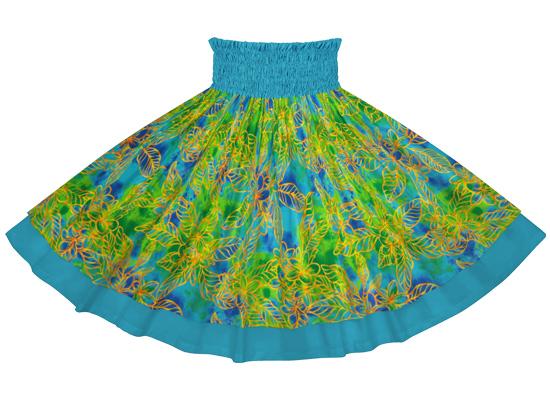 【ダブルパウスカート】 水色のプルメリア柄とオーシャンの無地 【丈とゴム本数が選べる】 dpau-2733aq フラダンス衣装