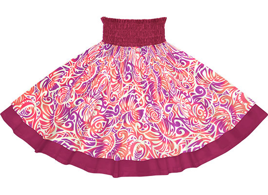 【ダブルパウスカート】紫と赤のモンステラ・ホヌ柄とブラックの無地 【丈とゴム本数が選べる】 dpau-2757ppcr-fuchsia フラダンス衣装 パープル レッド