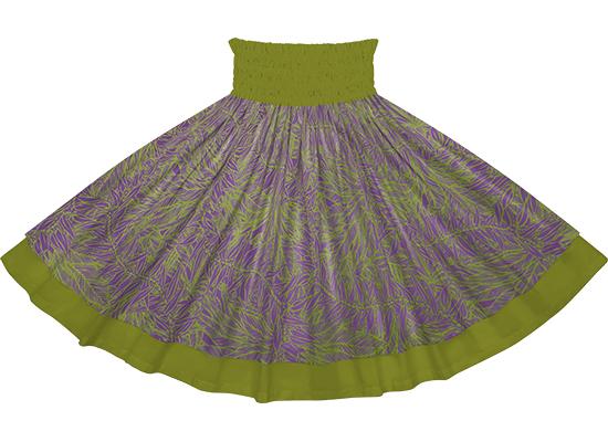 【ダブルパウスカート】紫ときみどりのティリーフ柄とオリーブの無地 【丈とゴム本数が選べる】 dpau-2764pplg-olive フラダンス衣装 パープル グリーン