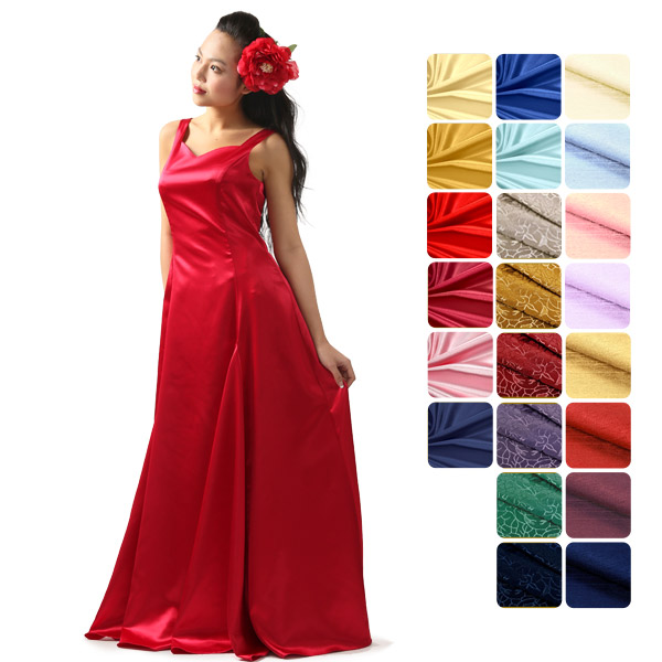 【送料無料】【オーダーメイド】 スリーブレス・フラドレス サテン8色+ジャガード6色+シャンタン8色 omds-31027ds 【計22色×10サイズから選べる】フラダンス衣装