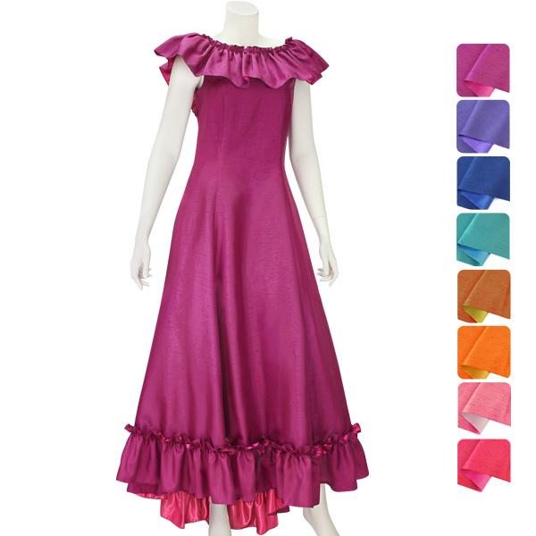 【送料無料】【オーダーメイド】 シャンタン・スリーブ・フラドレス omds-61001ds 【8色×10サイズから選べる】フラダンス衣装