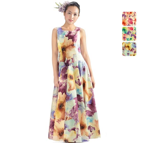 【送料無料】【オーダーメイド】 グログラン スリーブレス・フラドレス omds-71033ds 【3色×10サイズから選べる】フラダンス衣装