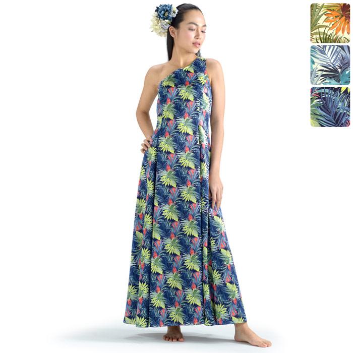 【オーダーメイド】 サテンプリント スリーブ・フラドレス hlds-omds-81038ds 【3色×10サイズから選べる】フラダンス衣装