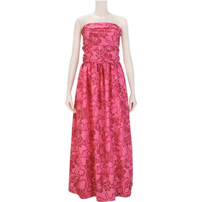 【送料無料】【既製品】 フラドレス シャーリング ベアトップ ピンク系 ハイビスカス・プルメリア総柄 【9号】 31022ds-2539Pi ムームー ハワイ フラダンス 衣装 ドレス