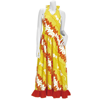 【送料無料】【既製品】 ホルターネック・フラドレス 黄色系 プルメリア・バナナリーフ柄 【9号】 41014ds-2419yw フラダンス 衣装 ドレス