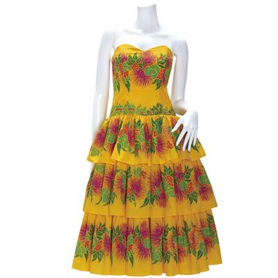 【送料無料】【既製品】 スリーブレス・フラドレス 黄色系 レフア・ピカケ・マイレボーダー柄 【9号】 41046ds-2411yw フラダンス 衣装 ドレス