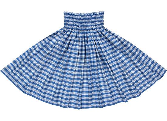 コットン100%★青のパウスカート パラカ柄 spau-ctt-palaka-bl 綿100%フラダンス衣装子どもから大人まで【丈とゴム本数が選べる】