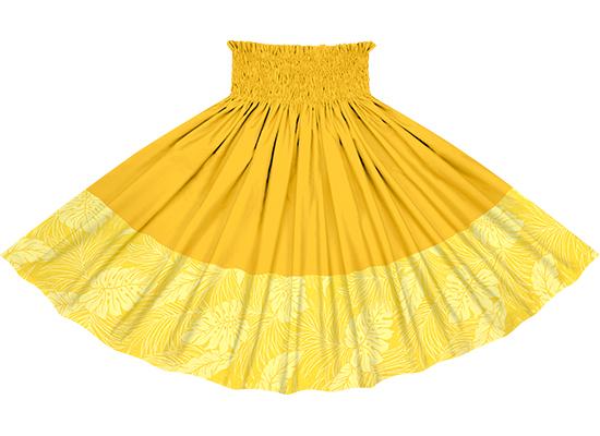 フラダンス衣装 【ポエポエパウ】 黄色のモンステラ総柄とゴールドの無地 ポエポエパウスカート ワイドボーダー pppaul-2022yw (ロック仕上げ)【丈とゴム本数が選べる】 イエロー