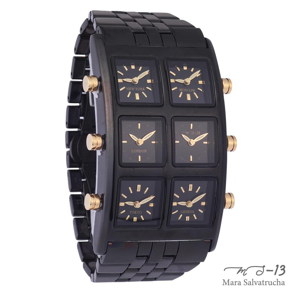 【MS-13】腕時計 6TIME ZONE シックスタイムゾーン(カラー:ブラック×ブラック) b系ファッション ヒップホップ ラッパー B-boy ギャングスター ダンサー カジュアル 金 銀 ダイヤモンド ウオッチ 時計 かっこいい アクセサリー おしゃれ ギフト お祝い 誕生日 プレゼント