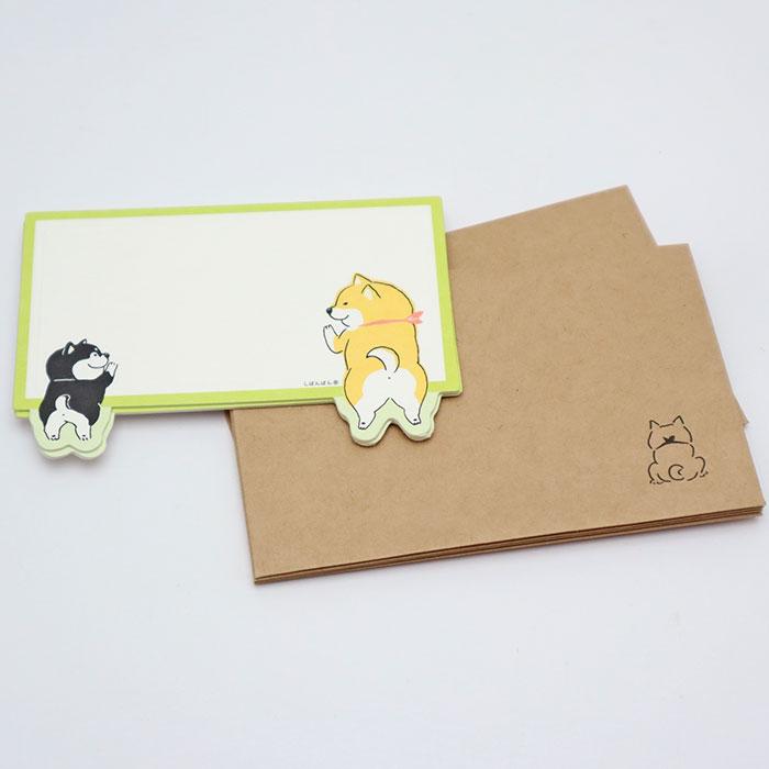 超特価SALE開催 バレンタイン クリスマスに 半額 プレゼントに添えて しばんばん 封筒付きメッセージカード ふりりっぽ 犬柄