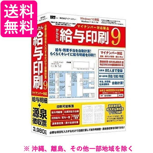 送料無料 沖縄 AL完売しました 離島 その他一部地域を除く オンライン限定商品 かんたん給与印刷9 IRTB0501 IRT