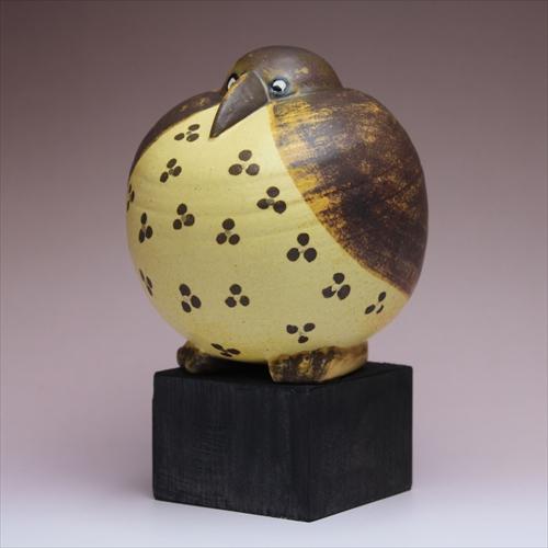 リサラーソン / Lisa Larson GOTTFRID(丸)フェニックス ゴットフリート ブラウン 北欧 リサラーソンのかわいい鳥のオブジェ(陶器のおしゃれな置物) H16.5cm