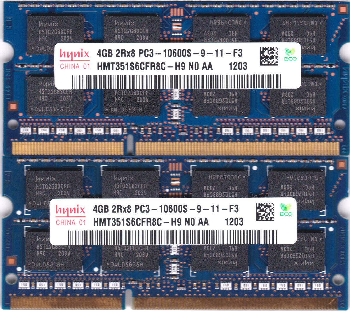 hynix PC3-10600S (DDR3-1333) 4GB x 2枚組み 合計8GB SO-DIMM 204pin ノートパソコン用メモリ 動作保証品