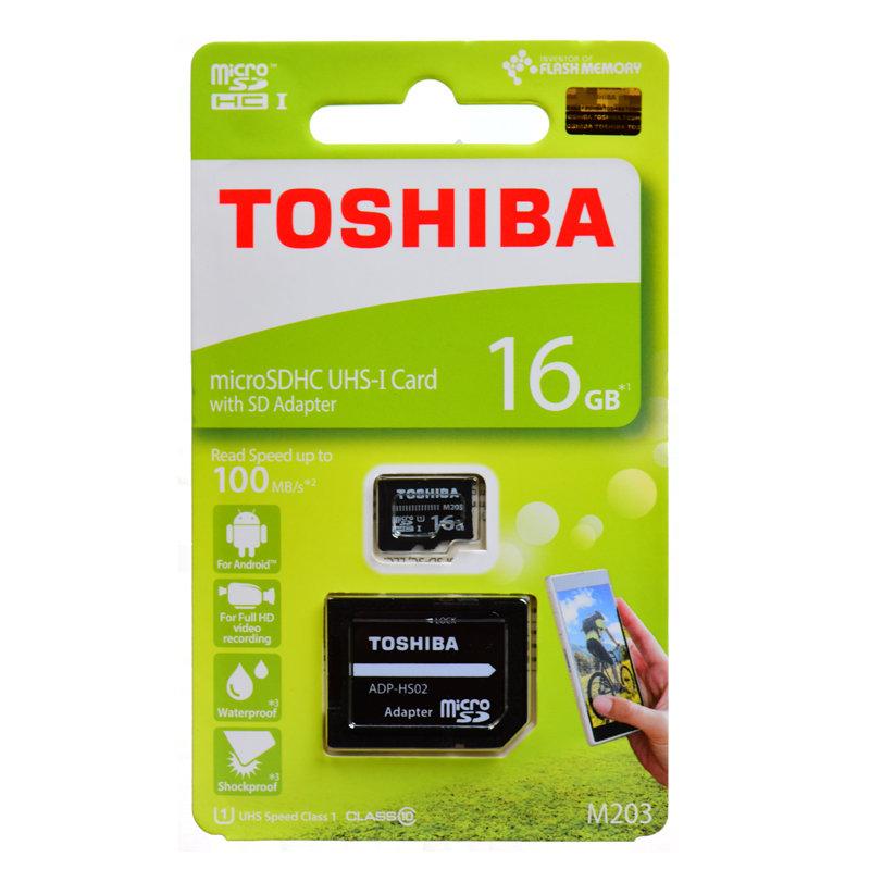 東芝16GB【microSDHCカードTHN-M203K0160A2アダプタ付】最大Read=100MB/s・Class10・UHS-I