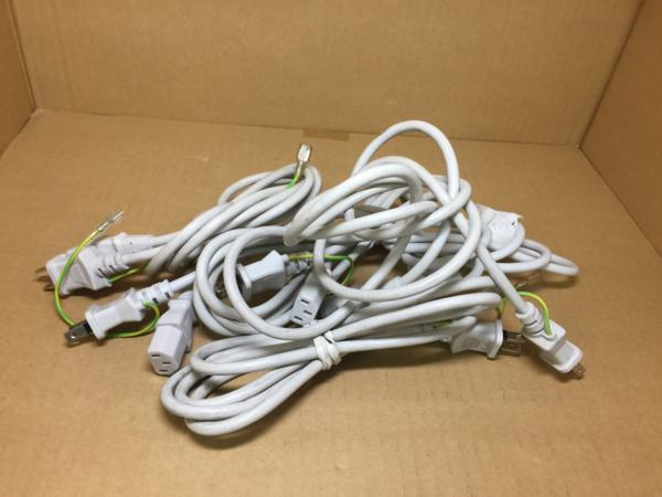業販向け 電源ケーブル 白 ホワイト 2Pin/3Pin混在 100本セット 100個セット【中古】