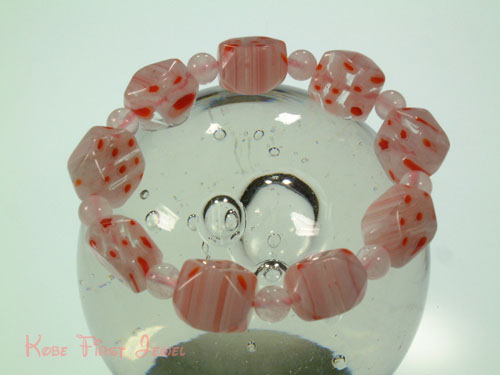 RURI jade Tati flowers pink (Rose Quartz) 10 × 15 mm bracelet 《 KFJBL0002 》