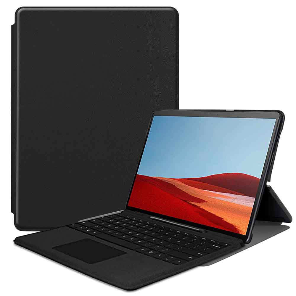 Surface Pro X 高品質 専用スリムケース カバー 薄型 軽量型 スタンド機能 インチカバー エックス 供え 高品質PUレザーケース サーフェス surface プロ 13