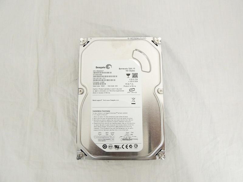 【中古】Seagate 160GB 7.2K 8MB SATA 3.5インチ ハードディスク[Seagate][HDD]