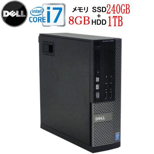 エントリーしてカード決済がお得!ポイント最大11倍!DELL 7020SF Core i7 4770 大容量メモリ8GB DVDマルチ 新品SSD256GB +新品HDD1TB Windows10 Pro 64bit 中古 中古パソコン デスクトップ 0005a3-marR
