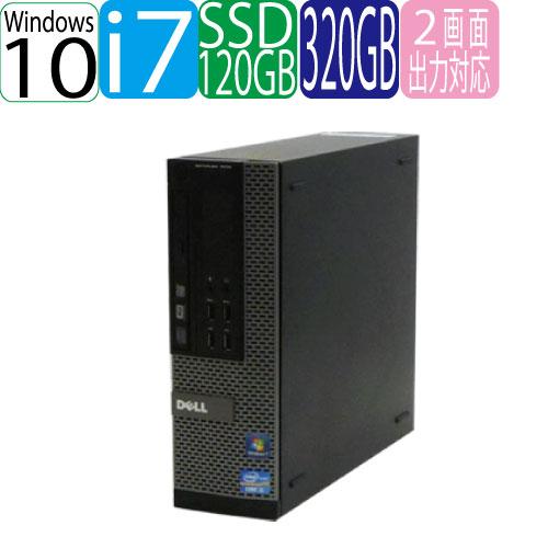 DELL 7010SF Core i7 3770 3.4GHz メモリ4GB 高速新品SSD120GB + HDD320GB DVDマルチ Windows10 Home 64bit MAR 0068AR 中古 中古パソコン デスクトップ
