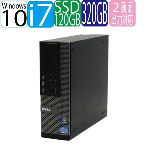 DELL 790SF Core i7 2600(3.4Ghz) メモリ4GB SSD(新品)120GB+HDD320GB DVDマルチ WPS Office付き  Windows10 Home 64bit MAR 1162AR 中古 中古パソコン デスクトップ