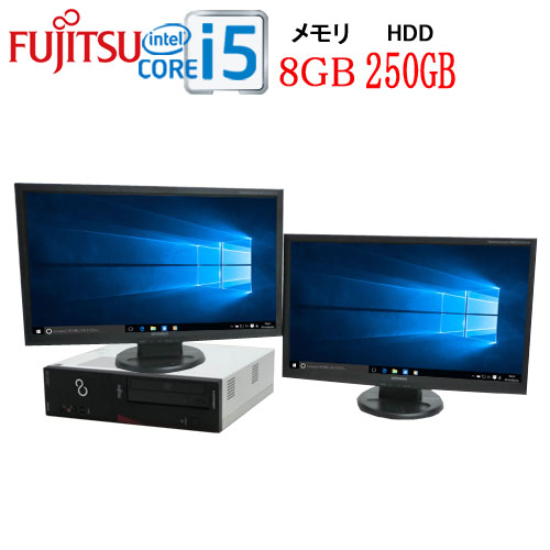 正規OS Windows10 64Bit 富士通 FMV d582 Core i5-3470(3.2Ghz) メモリ8GB HDD250GB DVD-ROM WPS Office付き 2画面 フルHD対応23型ワイドデュアルモニタ USB3.0対応 中古 中古パソコン デスクトップ 1427d23-R