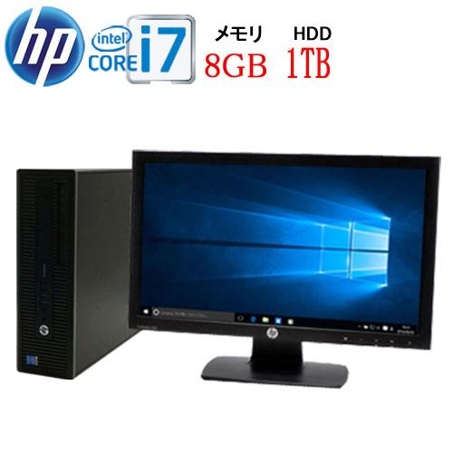 HP 600 G1 SF Core i7 4790 3.6GHz メモリ8GB HDD1TB DVDマルチ Windows10 Pro 64bit MAR WPS Office付き USB3.0対応 22型ワイド液晶 ディスプレイ 中古 中古パソコン デスクトップ 1658s1-mar-R