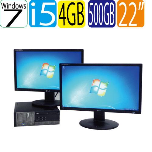 エントリーしてカード決済がお得!ポイント最大8倍! DELL Optiplex 7010SF 22ワイド型デュアルモニター Core i5 3470 3.2GHz メモリー4GB DVDマルチWindows7 Pro64Bit R-dm-078 USB3.0対応 中古 中古パソコン デスクトップ