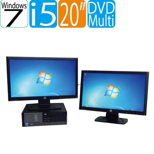 DELL Optiplex 7010SF 20ワイド型デュアルモニタ Core i5 3470(3.2GHz) メモリー4GB DVDマルチ Windows7 Pro 64Bit WPS Office付き R-dm-100  USB3.0対応 中古 中古パソコン デスクトップ
