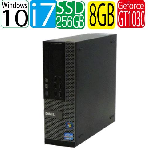 DELL 7010SF Core i7 3770 3.4GHz メモリ8GB 高速新品SSD256GB GeforceGT1030 HDMI DVDマルチ Windows10 Home 64bit USB3.0対応 中古 中古パソコン デスクトップ 0076g2R