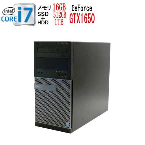 DELL Optiplex 9020MT Core i7 4770(3.4GHz) メモリ16GB DVDマルチ 高速新品SSD512GB + HDD1TB GeForce GTX1650 HDMI Windows10 Pro 64bit 中古 中古パソコン デスクトップ ゲーミングpc 0981a