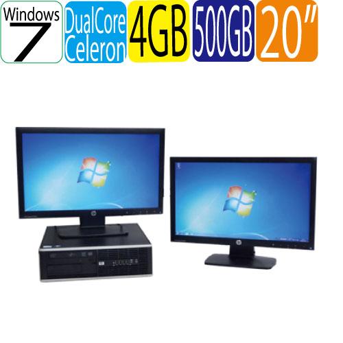 24時間限定!エントリー&カード決済で全品ポイント14倍!4/1から 2画面デュアルモニター HP 6300SF Celeron Dual-Core G1610(2.60GHz) メモリー4GB HDD500GB DVD-ROM 64Bit Windows7 Pro 20型ワイド液晶 ディスプレイ 中古パソコン デスクトップ 1472d7R