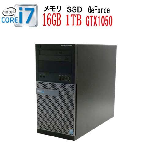 DELL Optiplex 9020MT Core i7 4770(3.4GHz) メモリ16GB DVDマルチ 高速新品SSD1TB GeForce GTX1050Ti HDMI Windows10 Pro 64bit 中古 中古パソコン デスクトップ ゲーミングpc R-dg-167