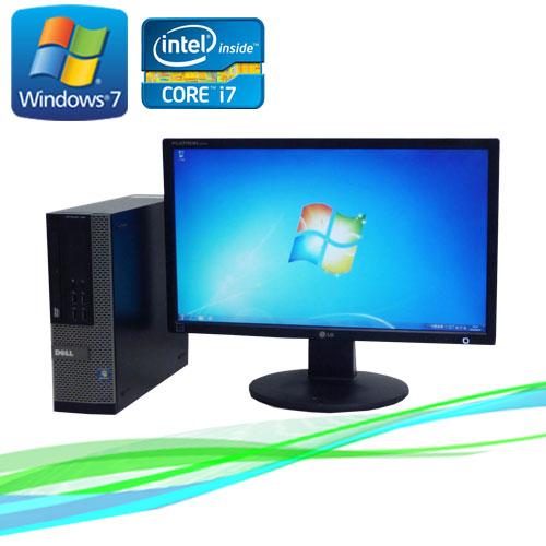 中古パソコン デスクトップ DELL 7010SF 22型ワイド液晶 ディスプレイ Core i7-3770 3.4GHz メモリー8GB DVDマルチ 64Bit Windows7Pro /R-dtb-417 /USB3.0対応 /中古