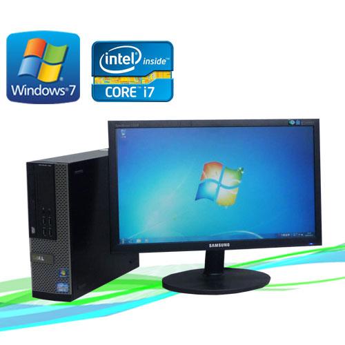 中古パソコン デスクトップ DELL 7010SF 20ワイド液晶 ディスプレイ Core i7-3770 3.4GHz メモリー8GB DVDマルチ64Bit Windows7Prodtb-416 /R-dtb-416 /USB3.0対応 /中古
