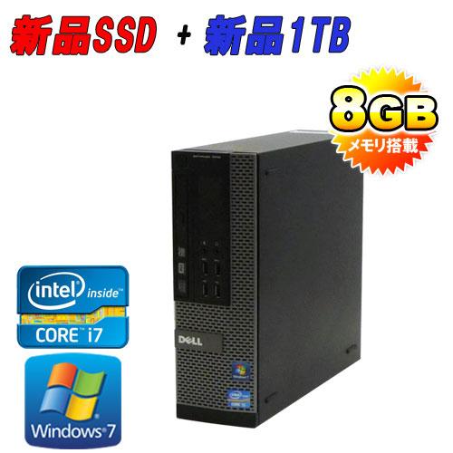 中古パソコン デスクトップ SSD120+HDD1TB DELL 7010SF Core i7 3770 3.4GHzメモリー8GBDVDマルチ64Bit Windows7Pro /R-d-319 /USB3.0対応 /中古