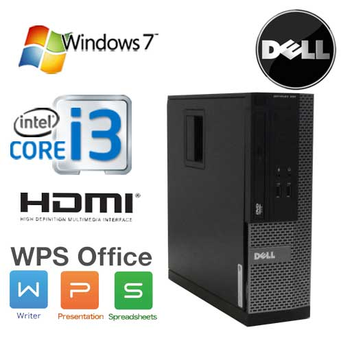 中古パソコン デスクトップ DELL Optiplex 3010SF Core i3 3220(3.3Ghz) HDMI メモリ2GB HDD250GB WPS Office付き Windows7Pro 32Bit /1630a7R /中古
