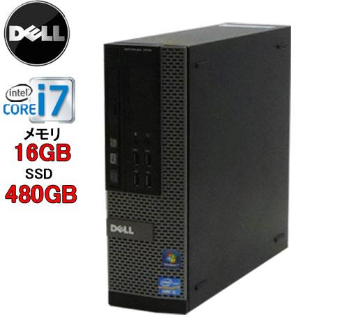 中古パソコン デスクトップ DELL Optiplex 7010SF Core i7 3770(3.4GHz) 大容量メモリ16GB DVDマルチ 大容量SSD新品480GB WPS Office付き Windows10 Home(MAR) R-d-269 中古